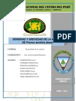 Informe Final de Densidad y Gravedad de Prunus Serotina (Base)
