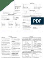 Calculus Cheat Sheet Derivatives Reduced