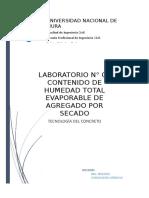 Lab.N03 Contenido de Humedad Evaporable en Agregado Por Secado