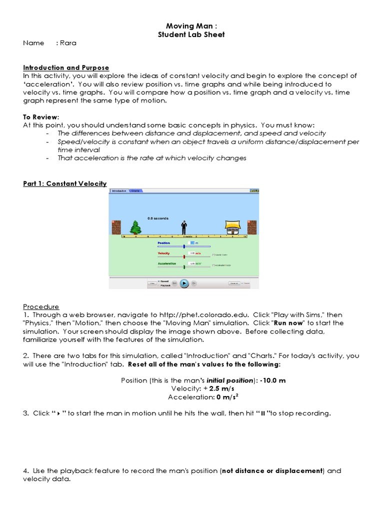 Moving Man Worksheet Doc Temporal Rates Acceleration