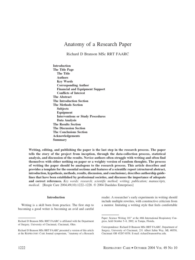 anatomy of a research paper branson