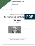Katz, Claudio. La Relevancia Contemporánea de Marx