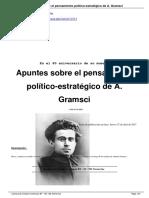 Pastor, Jaime. Apuntes Sobre El Pensamiento Político Estratégico de Antonio Gramsci. en El 80 Aniversario de Su Muerte