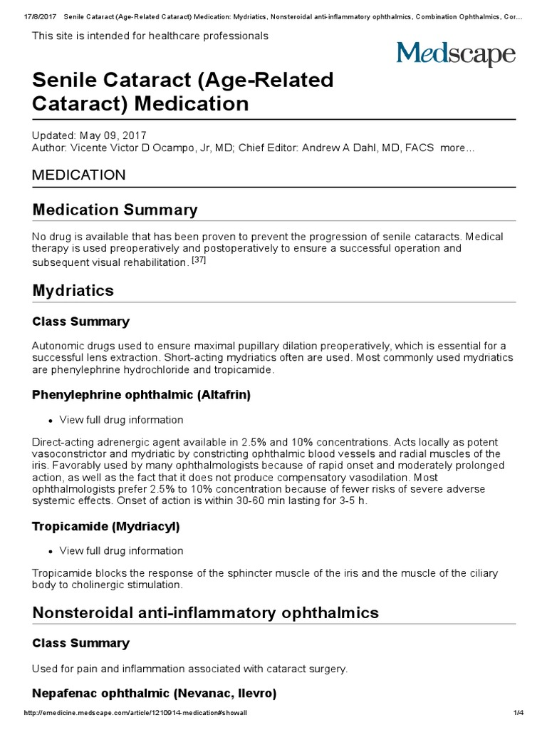 senile cataract age related cataract medication_ mydriatics nonsteroidal anti inflammatory ophthalmics combination ophthalmics corticosteroids