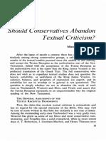 Should Conservatives Abandon Textual Criticism