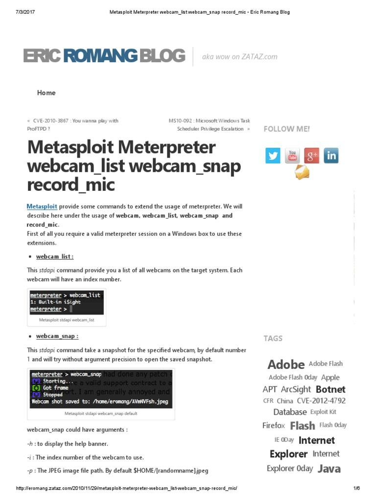 Metasploit meterpreter webcamlist webcamsnap recordmic eric metasploit meterpreter webcamlist webcamsnap recordmic eric romang blog adobe flash malware baditri Gallery