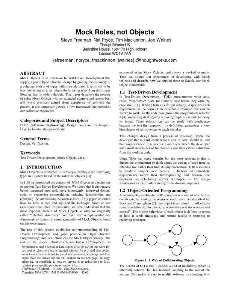 Mock Roles - Not objects pdf | Test Driven Development