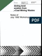 US EPA 1993 Predicting Acid Generation From Coal Mine Waste