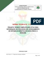 NT 017 - Projeto Técnico Simplificado (PTS) Para Integração Do Processo de Licenciamento de Estabelecimentos de Baixo Risco à REDESIM