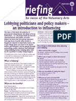 Lobbying Politicians and Policy Makers - An Introduction to Influencing