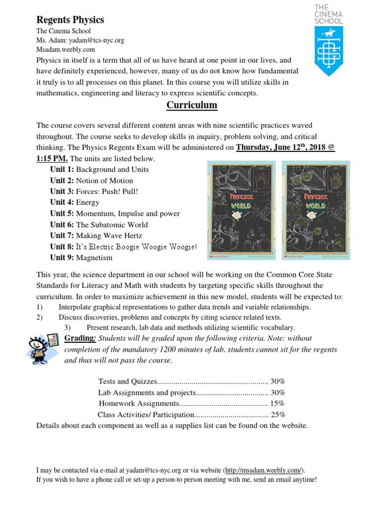 regent physics syllabus 17-18 | Perfume | Science
