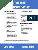 Lista de Utiles Escolares Universidad College