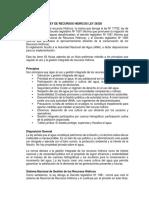 Análisis de La Ley de Recursos Hidricos Ley 29338