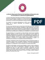 Red de Observación Electoral de Asamblea de Educación Ante La Convocatoria a La Elección de Gobernadores - Comunicado 18-08 - V Final