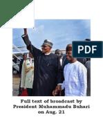 Full Text of Broadcast by Nigeria President Muhammadu Buhari on Aug