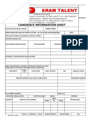 Candidate Basic Information Sheet | Turnover (Employment