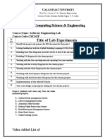 Software Engineering Lab - CSE342P Experiment List