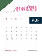 Free Printable 2017 Calendar Clementine Creative