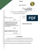 Tarantola Memorandum Decision Arizona Bankruptcy 072910 Deutsche