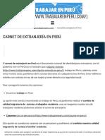 Carnet de Extranjería en Perú - TRABAJAR en PERÚ