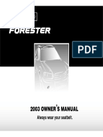 2003 Subaru Forester X Owners Manual