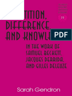 (Studies in Literary Criticism and Theory) Sarah Gendron-Repetition, Difference, And Knowledge in the Work of Samuel Beckett, Jacques Derrida, And Gilles Deleuze-Peter Lang (2008)