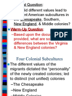 English Roots in America Chesapeake NE Middle and Southern Colonies