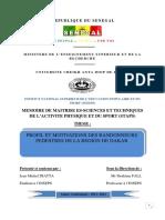 PROFIL ET MOTIVATIONS DES RANDONNEURS PEDESTRES DE LA REGION DE DAKAR