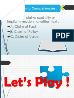 GRADE 11 - Reading and Writing Claim , Fact , Value