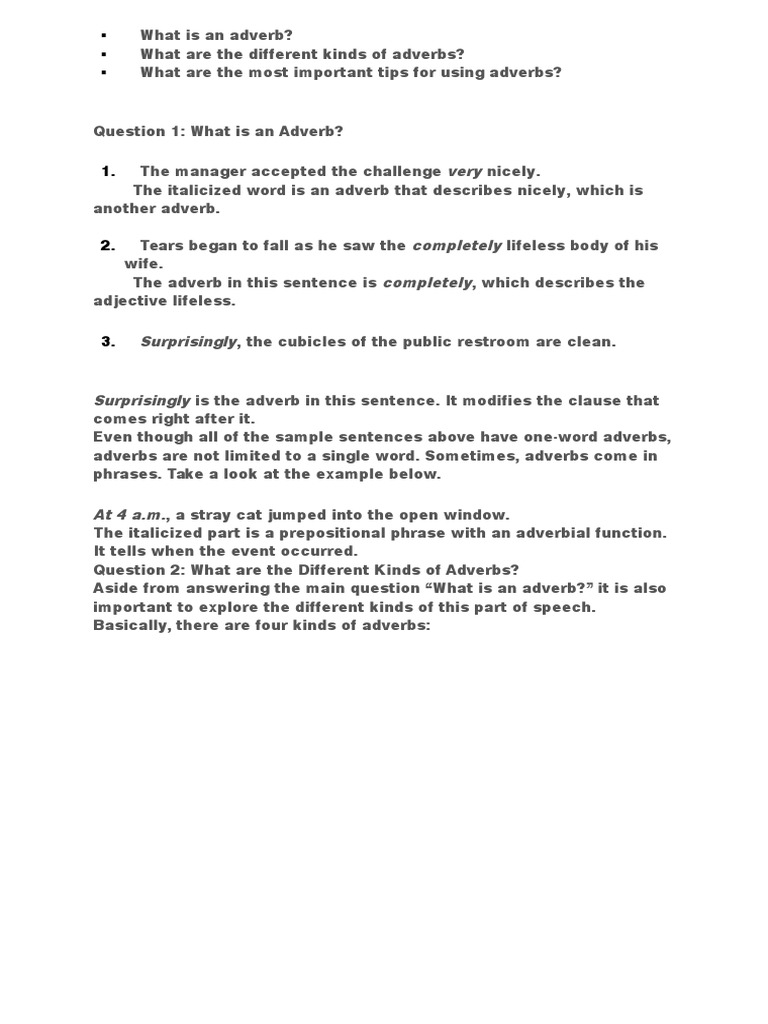 Example Sentences Of Adverb Images Resume Cover Letter Examples