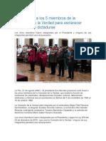Bolivia. Posesionan a Los 5 Miembros de La Comisión de La Verdad
