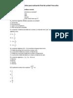 Guia de Matematica Septimo Año Para Evaluacion de Final de Unidad 1