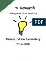 Kindergarten Class Handbook 2017:2018