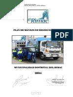 Plan de Manejo de Residuos Solidos 2014 Final