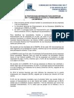 Información para identificar fuentes, necesidades y condiciones de acceso al financiamiento de las empresas