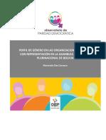 Perfil de Género en las Organizaciones Políticas con Representación en la Asamblea Legislativa Plurinacional de Bolivia