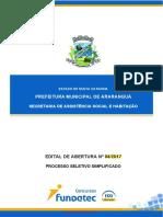 Edital de Abertura n 04 2017 Secretaria de Assistencia Social e Habitacao