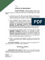 Affidavit of Discrepancy - Cabasug (First Name)