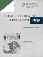 Andre Gunder Frank - CEPAL, Política del subdesarrollo. Punto Final, Suplemento a la Edición n° 89, 14 de octubre de 1969