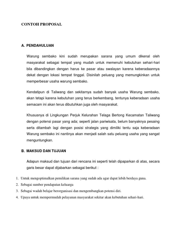 Contoh Proposal Sembako Ago