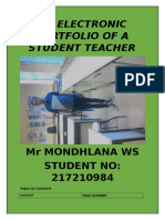 An Electronic Portfolio of a Student Teacher Mr Mondhlana Ws