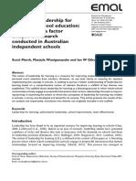 Scaffolding Leadship for Learning in School Education