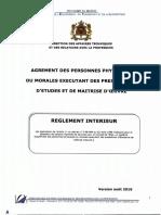 Reglement Interieur Agrement Aout 2016
