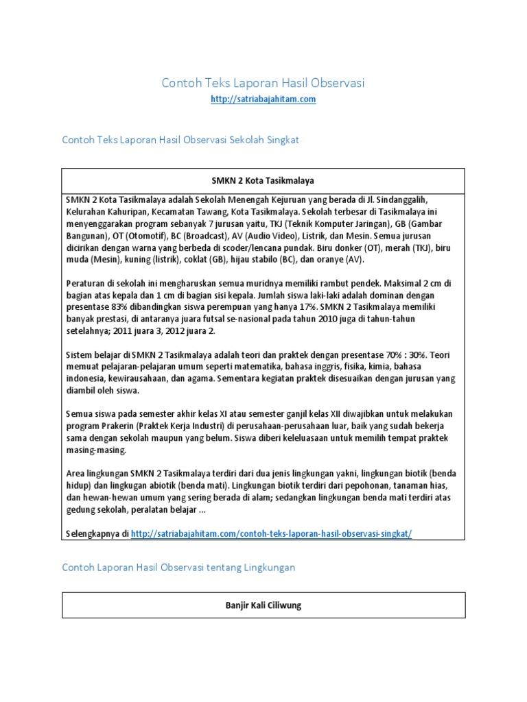 Contoh Teks Laporan Hasil Observasi Lingkungan Sekolah Kumpulan Contoh Laporan
