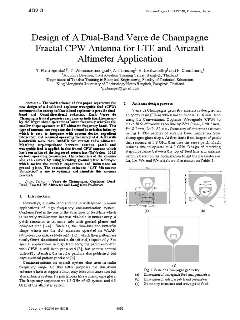 Design of a dual-band Verre de Champagne Fractal CPW antenna