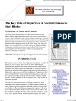 The Key Role of Impurities in Ancient Damascus Steel Blades