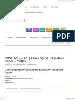 CBSE 2014 – 2015 Class 09 SA1 Question Paper – Maths