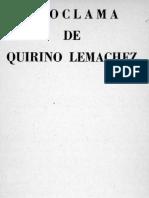 Proclama de Quirino Lemáchez