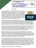 20th Sunday Newsletter