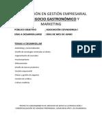 Capacitación en Gestión Empresarial Del Negocio Gastronómico y Marketing